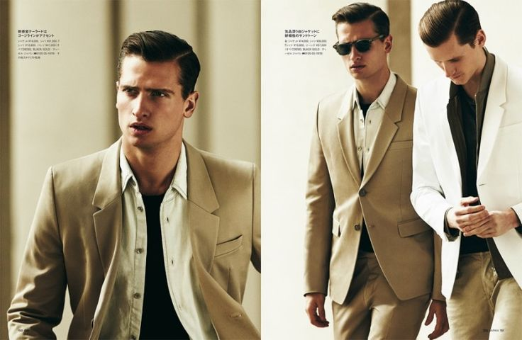Made in Italy: GQ Japan Does Chic Spring Fashions -Wearing neutrals, Tom Warren (left) joins Bastiaan.