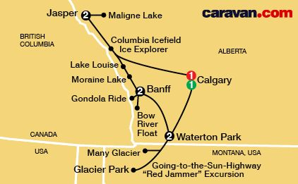 Canadian RockiesTour Map Caravan Tours