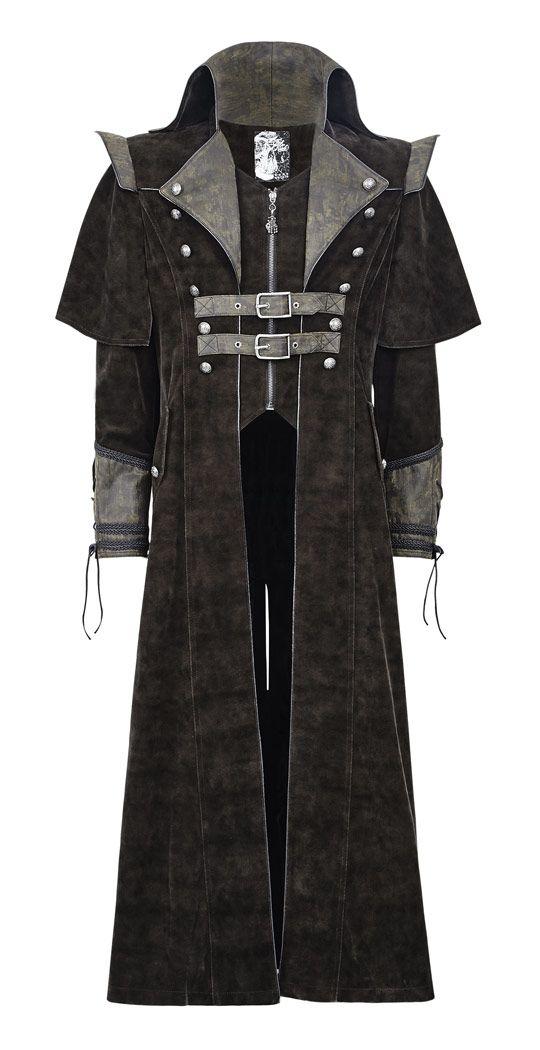 Long brown coat steampunk medieval man Punk Rave > STEAMPUNK STORY - PUNKR0089   Shop : www.steampunk-story.com