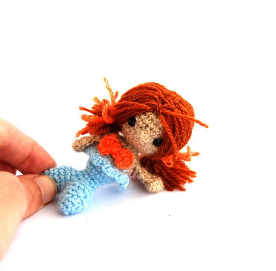 little mermaid doll crochet mermaid by tinyworldbycrochAndi, $18.32
