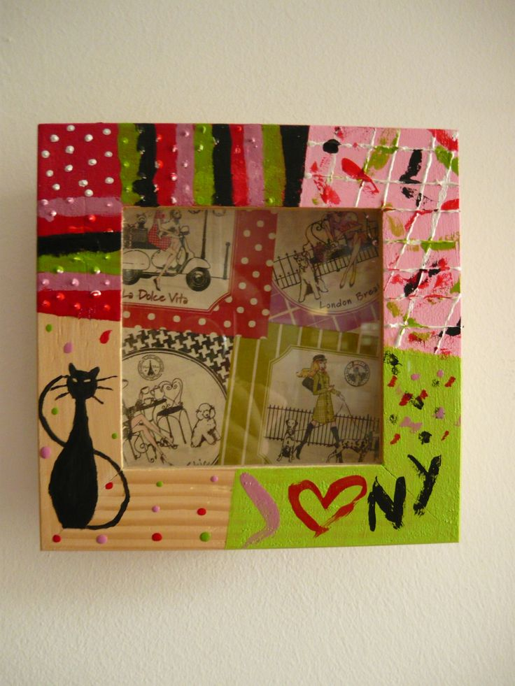 Little 3D square inspired by a decoupage paper of Rome, London, Paris and New York.