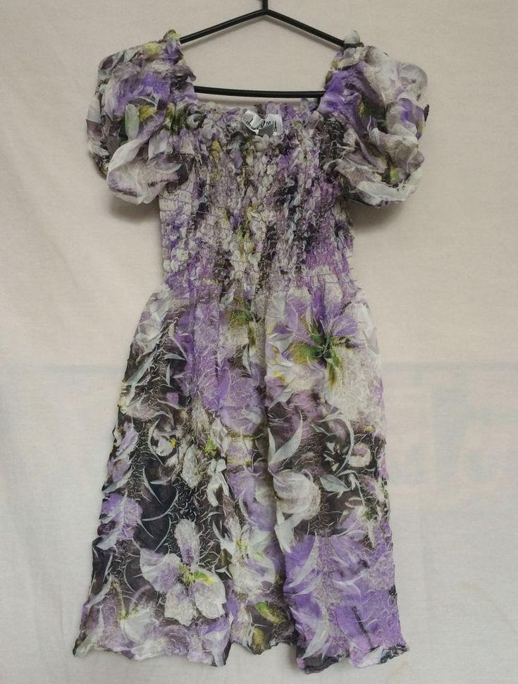 Joseph Ribkoff Top Sz 8 Ruffles Stretch Elastic Chest Floral Purple White #JosephRiboff #Top #Casual