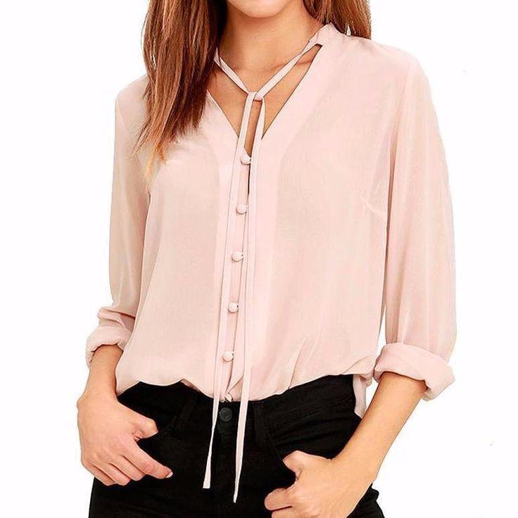 V-Neckline Self tie Buttoned Chiffon Women Blouse Tops