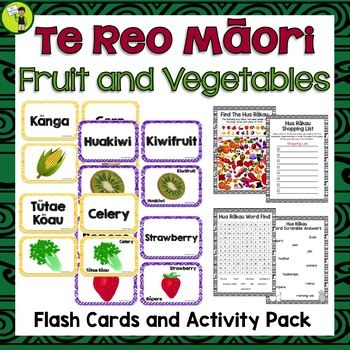 Teach Te Reo Māori Fruit and Vegetables - Hua Rākau me hua whenua - in your classroom with these great multi-purpose flash cards and activities. Print and laminate the labels and create a Word Wall. You could also print and laminate the pictures and use these as a visual cue.