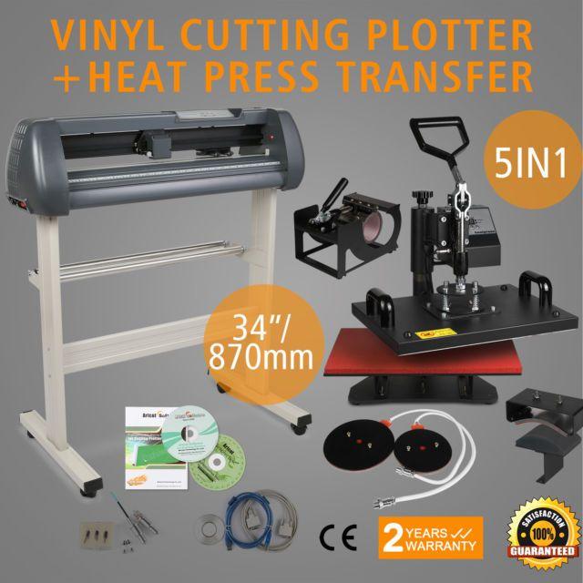 "5in1 Heat Press Transfer Kit 34"" Vinyl Cutting Plotter Cutter Printer Sticker"