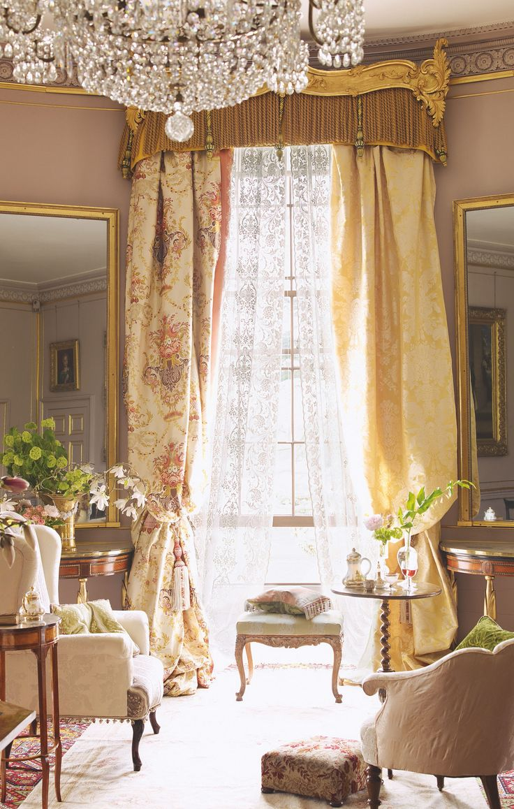 Wonderful French Style Window Treatments Part - 8: French Country Decor: Extravagant Drapes And Chandelier!