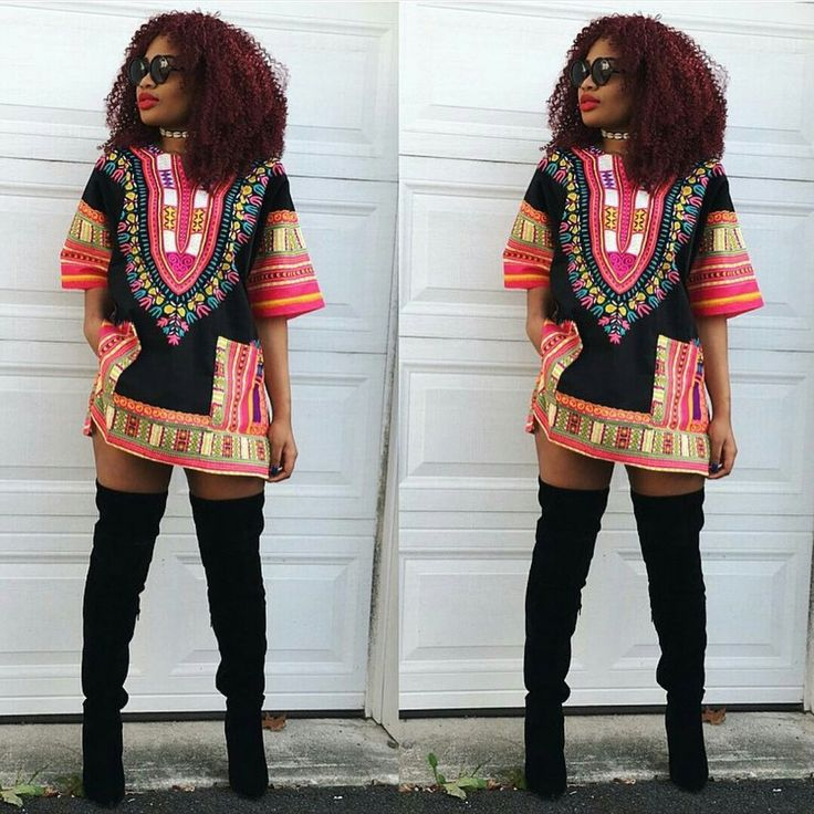 Black and Pink Colorful African Dashiki Shirt Only $15