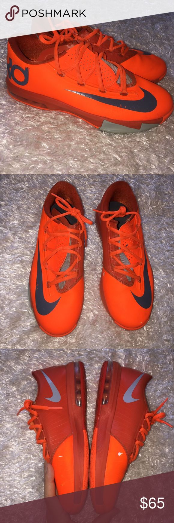 KD Neon Orange Shoes See photos for blemishes . Overall pretty good condition, size is a 6Y which can fit as a women's 8 as well. Feel free to ask any questions! No trades sorry, offers thru the offer button only! x.. Nike Shoes