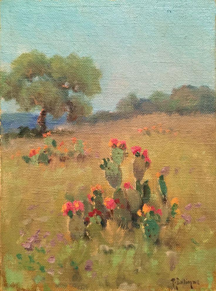 Porfirio salinas blooming cactus western art for Oil art for sale