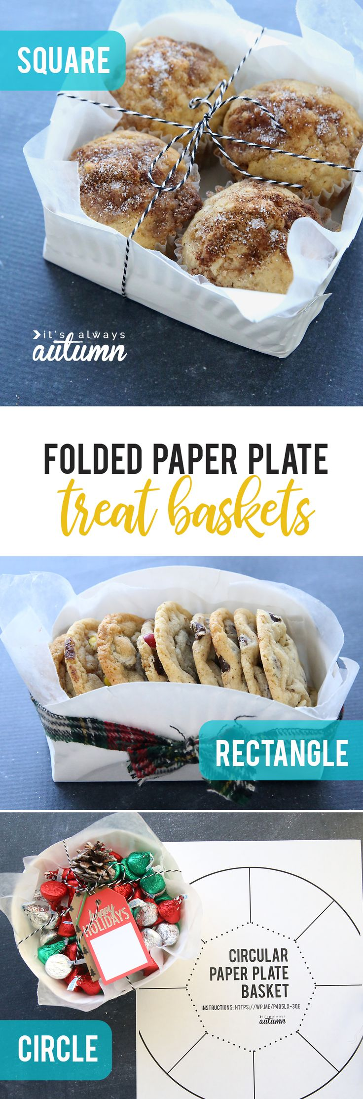 Learn how to make an adorable treat basket from a cheap paper plate! Three different shapes with printable templates included.