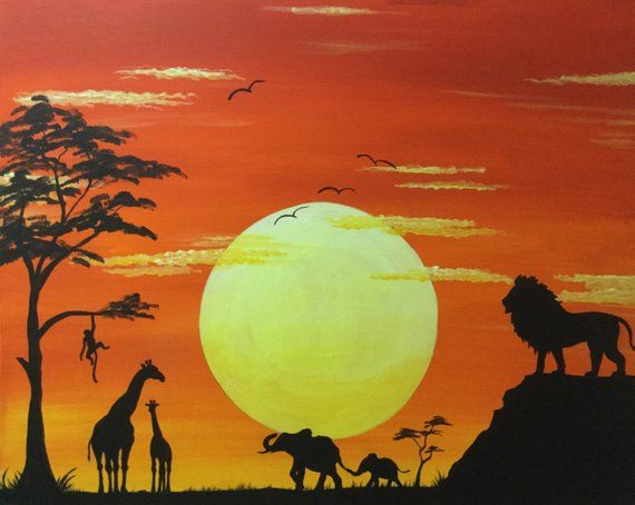 Glow In The Dark African Art Sunset Africa Giraffe Lion Lion Silhouette African Art African Art Projects