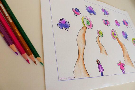 Illustrazione originale con matite colorate. Idea di RossoViola, €14.00