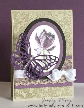 Stampin' Up! Vintage_Lotus Blossom, Something lacy, Butterfly Thinllits