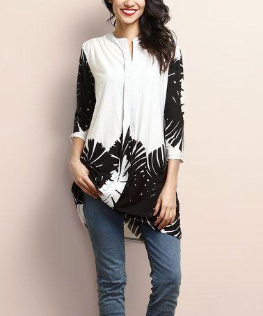 Look at this #zulilyfind! White & Black Floral Notch Neck Shift Tunic #zulilyfinds