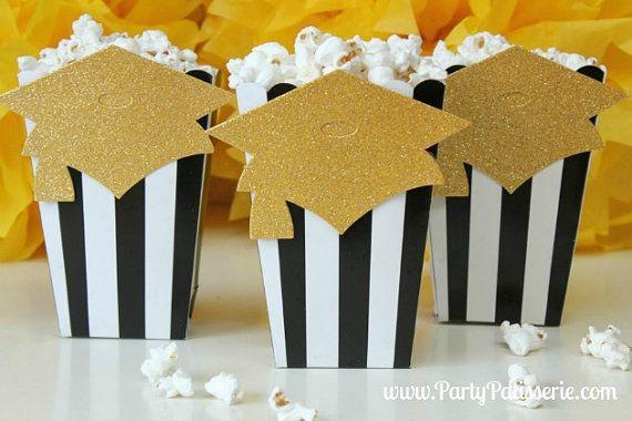 Black & White Striped Popcorn Boxes with Graduation Cap Party Patisserie Shop $11.99