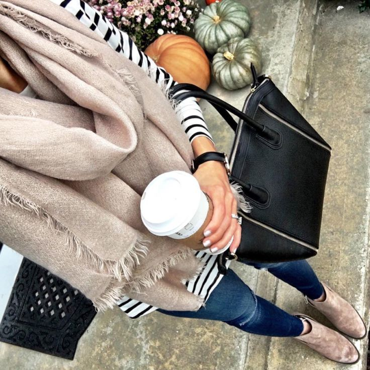 IG @mrscasual <click through to shop this look> Perfect Neutral Scarf, BP striped t-shirt tunic, black tote bag, ankle booties