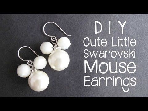 DIY Mouse Earrings with Swarovski Pearls - wire wrapping jewelry tutorial…