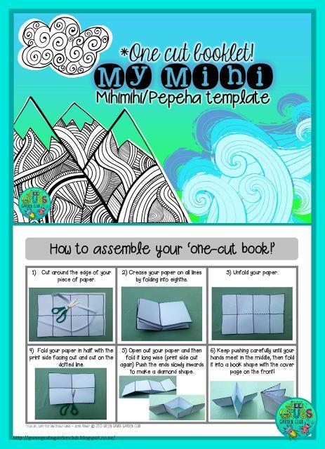 FREE Mihi/Pepeha template {1-cut-book} by Green Grubs Garden Club