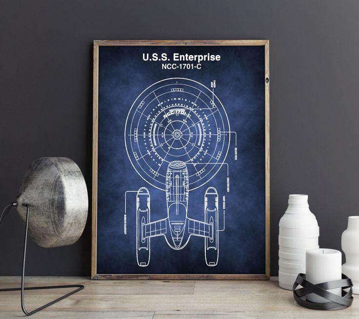 Star Trek Poster, Enterprise Poster, Raumschiff Poster, Strar Trek Blaupause, Raumschiff Enterprise, Star Trek, digitales Poster von FineArtHunter auf Etsy