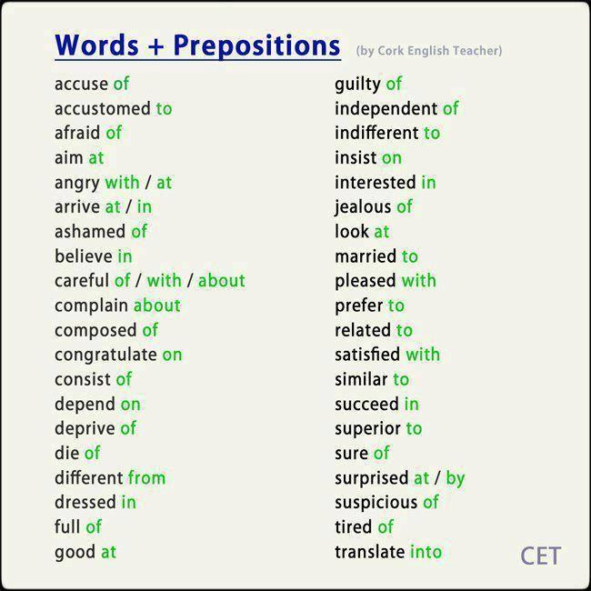 words and prepositions  #esol #esl #efl  http://www.uniquelanguages.com