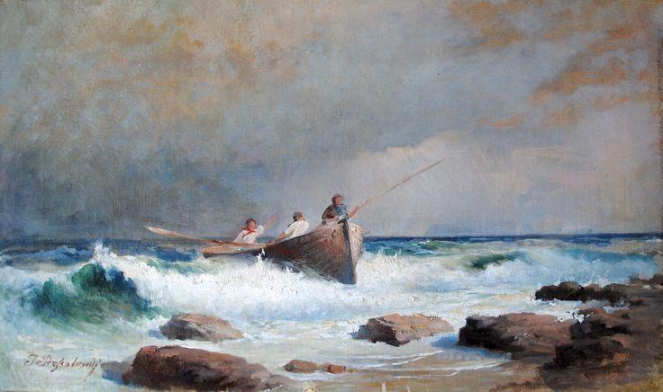 Pavlos Prosalentis (1857-1894) Seascape, oil on canvas, 34 x 63 cm, Private collection
