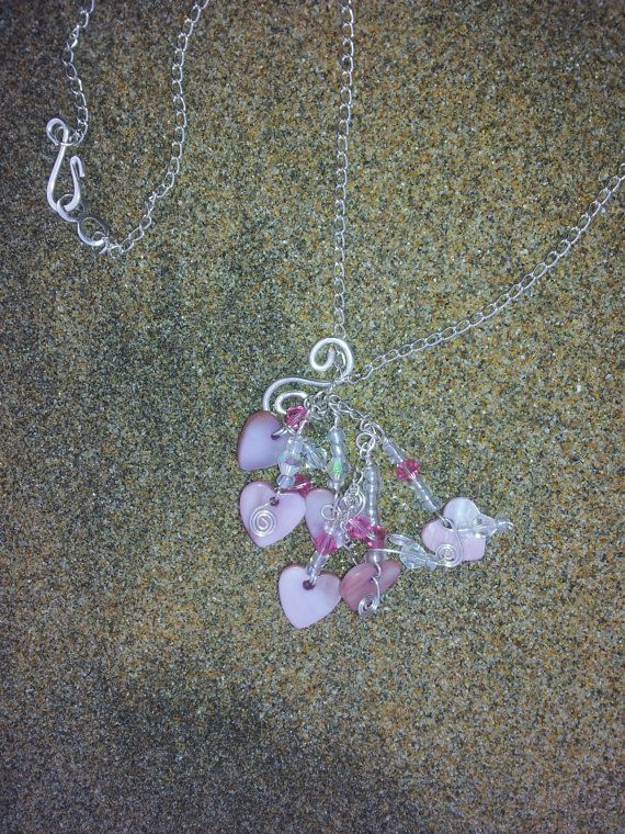 Valentines Pink Shell Heart and Swarovski Crystal by OnenJewellery, £20.00