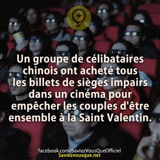 Un groupe de célibataires chinois ont acheté tous les billets de sièges impairs dans un cinéma pour empêcher les couples d'être ensemble à la Saint Valentin.