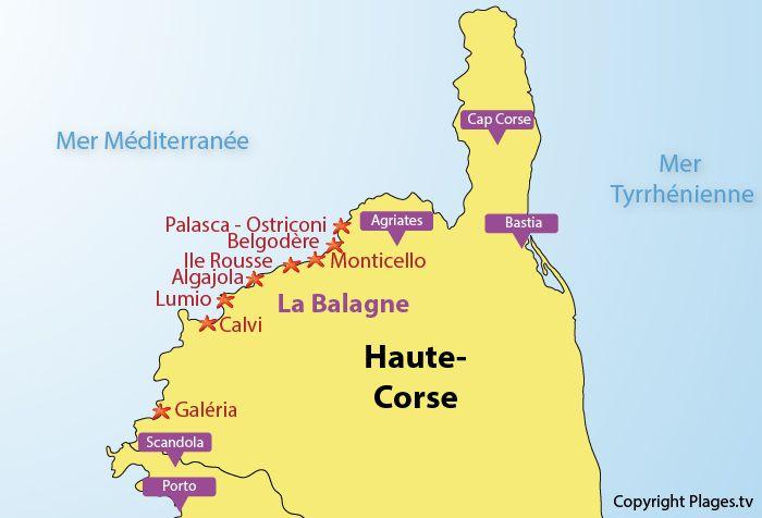 Carte de la Balagne en Corse