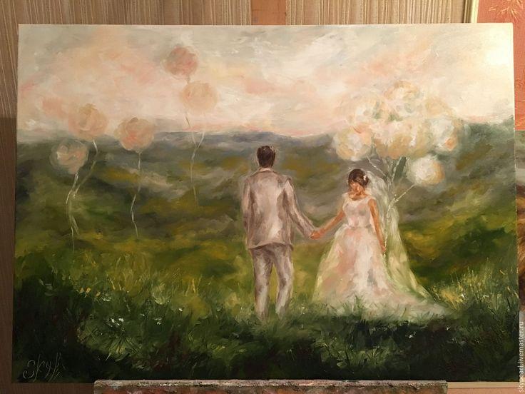 """Купить """"Розовое небо"""" (50х70см) - бледно-розовый, картина для интерьера, картина, подарок девушке, Живопись"""