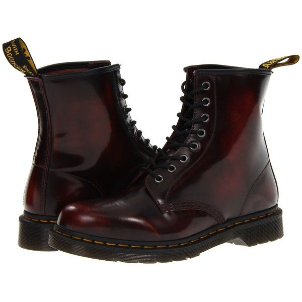 Dr. Martens 1460 (Cherry Red Arcadia) Lace-up Boots ($70) ❤ liked on Polyvore featuring shoes, boots, tan, dr martens boots, leather boots, tan lace up boots, lacing boots and tan leather shoes