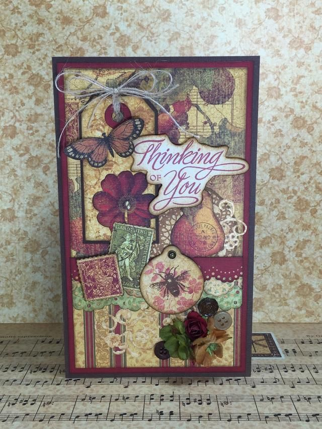 "This beautiful layered card measures 4 1/2"" x 7 1/2"" and is made with Graphic 45's pretty Botanicabella papers."