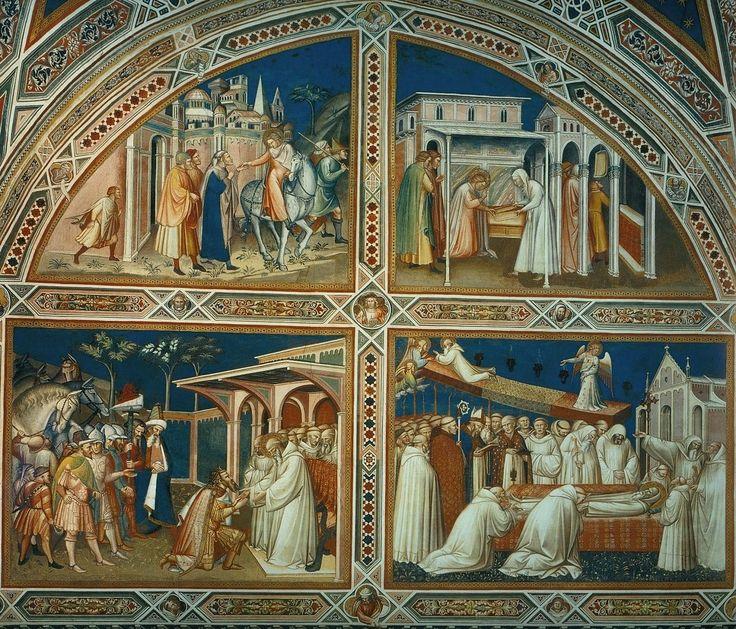 Спинелло Аретино. 1.Св. Бенедикт покидает Рим. 2.Чудо с решетом. 3.Тотила перед св.Бенедиктом. 4.Успение св.Бенедикта. Сан-Миниато-аль-Монте.