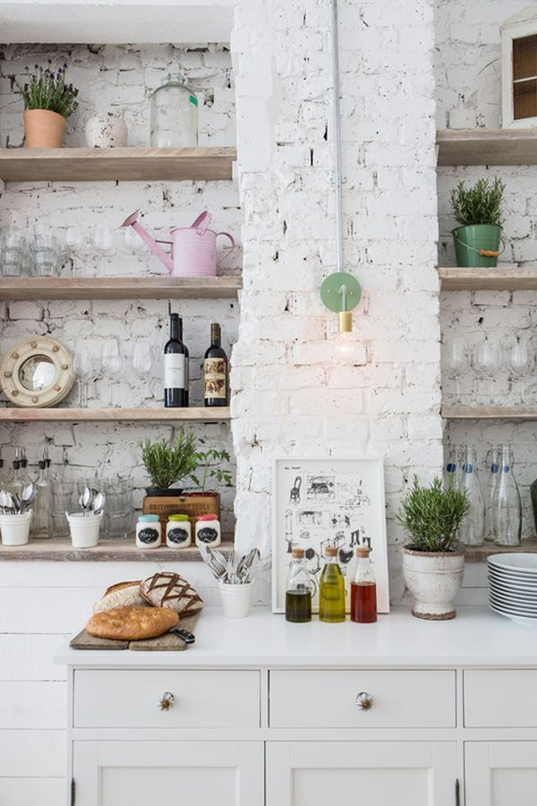 Painted white brick in the kitchen -- would make a neat backsplash too.