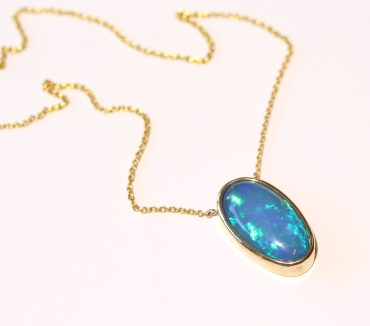124 best ethiopian opal jewelry images on pinterest opal jewelry natural blue opal necklace 14k yellow gold handmade custom necklace jewelry 1341 aloadofball Choice Image