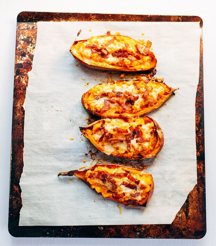 Sweet Potato Skins with Bacon and Cheese