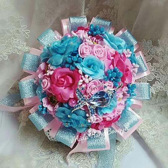 HandBouquet BLUE PINK by #AidaBrooch