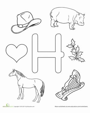 Preschool The Alphabet Letter H Worksheets: H Is For...