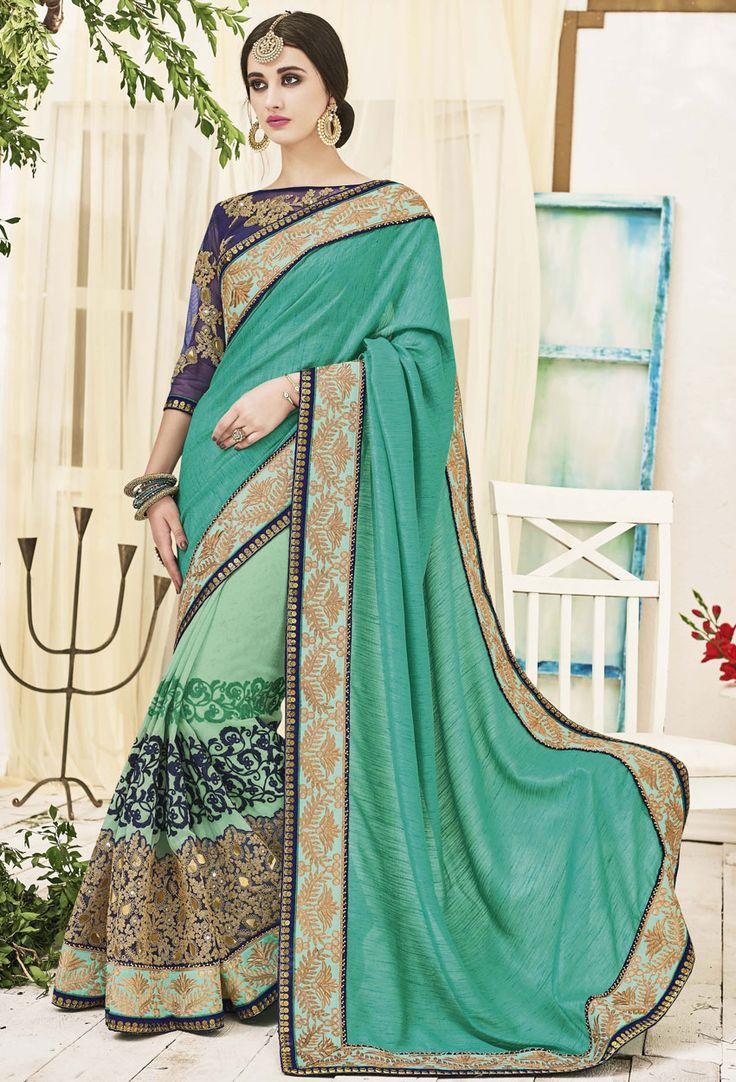Sea #Green Georgette #Half N Half #Saree With #Blouse #nikvik  #usa #designer #australia #canada #freeshipping #dress #saris
