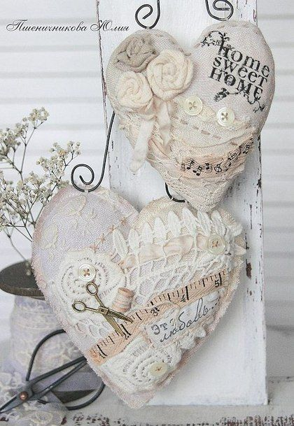 Shabby Chic Fabric Hearts