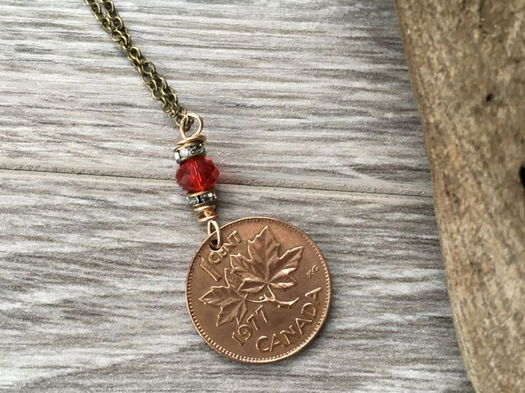 30th or 40th birthday gift canadian coin necklace 1977