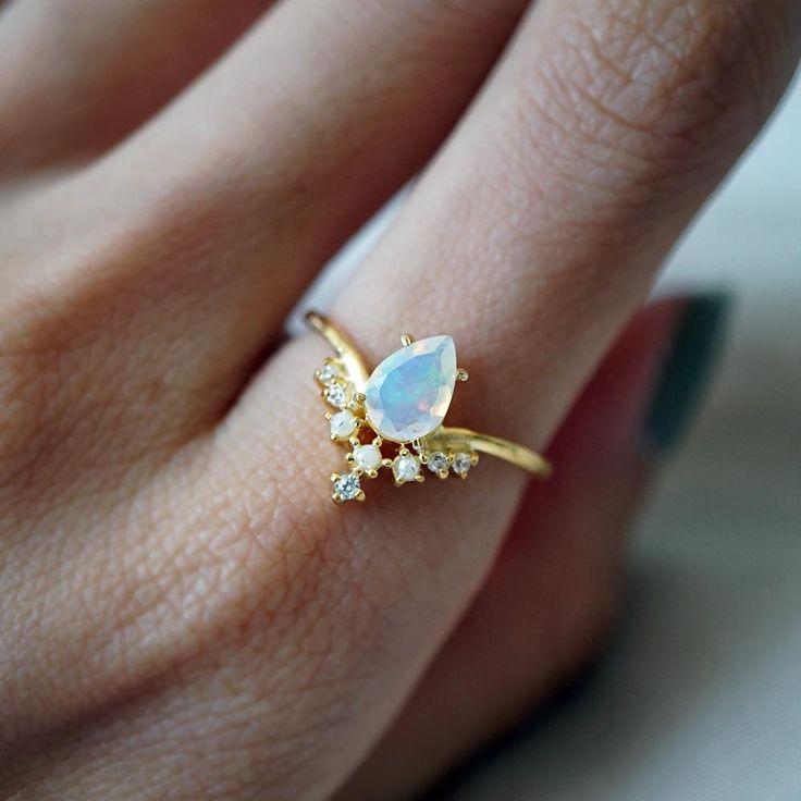 Celestial opal pearl ring white gold wedding rings leaf