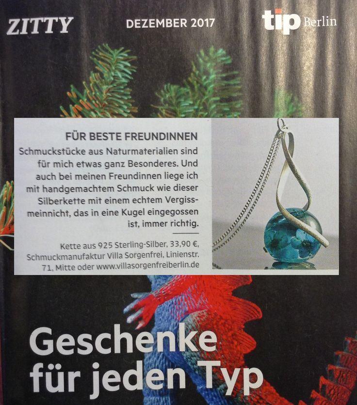 Villa Sorgenfrei in der •Tip Berlin•  . Die 925 Spiralkette mit echten Vergissmeinnicht finden Sie hier:  #berlin #villasorgenfrei #villasorgenfreiberlin #tipberlin #zeitung #geschenkideen #schmuck #schmuckliebe #unikate #handgemacht #handmade #handmadejewelry #bestfriends #925silverjewelry #blüten #vergissmeinnicht #forgetmenot #shopping #worldwide #mustsee #musthave #weihnachten #xmas #worldwideshipping #xmasgift #xmaspresent