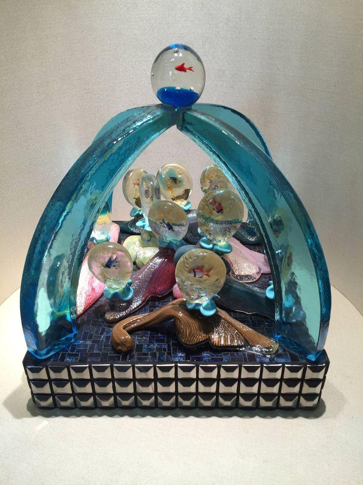 murano glass sculpture / scultura in vetro di murano / aquarium sculpture / scultura con piccoli acquari / handmade / murano glass / fishes di Sanmarcoartedesign su Etsy