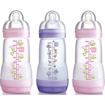 MAM Anti-Colic 260ml Pink Bottle - 3 Pack