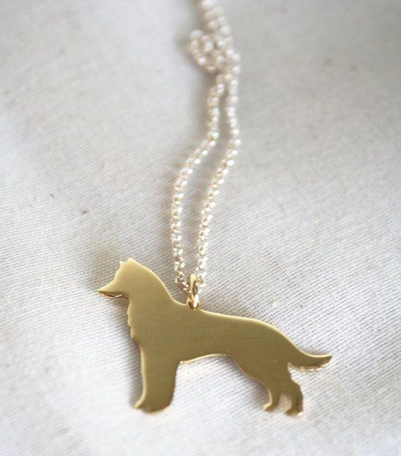 Husky necklace gold husky pendant dog necklace wolf by LolaAndCash