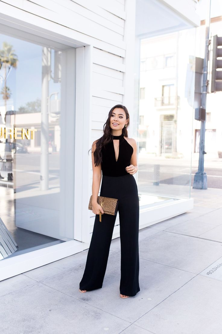 Black velvet jumpsuit+heels+leopard print clutch+gold necklace+gold bracelet. Christmas Evening Event or Party/ Dinner Outfit 2017