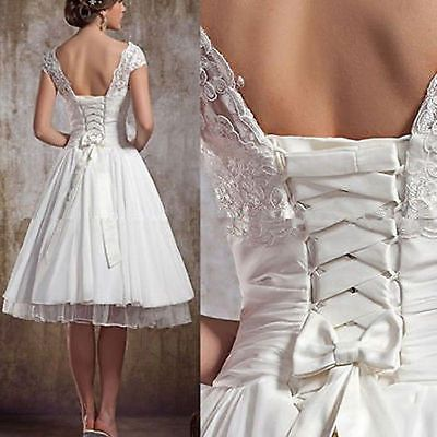 Tea Length Mid-Calf nonw Lace Up Plus Size Ball Gown Short Wedding Dresses Party