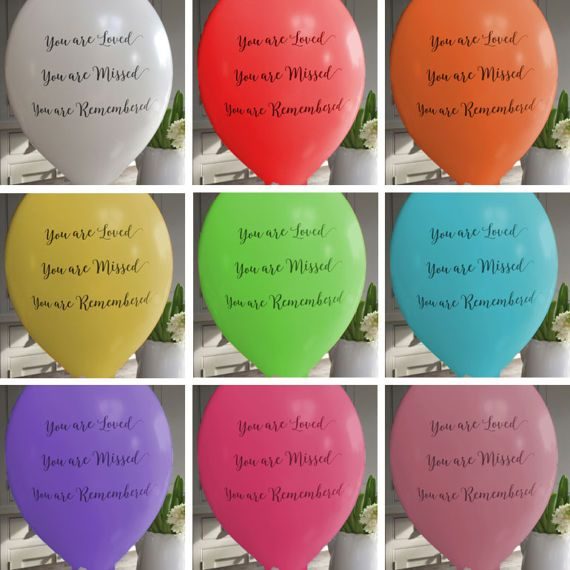 ** 25 BIODEGRADABLE REMEMBRANCE BALLOONS ** A pack of 25 biodegradable Remembrance Balloons printed with the message You are Loved, You are Missed, You are Remembered. These are available in 10 colours - white, red, orange, yellow, green, blue, purple, pale pink, bright pink and rainbow mix. Ideal for releasing at funerals, celebrations of life, or on the anniversary of the passing of a loved one. They look wonderful released en masse and create a thoughtful, peaceful moment to mark the…