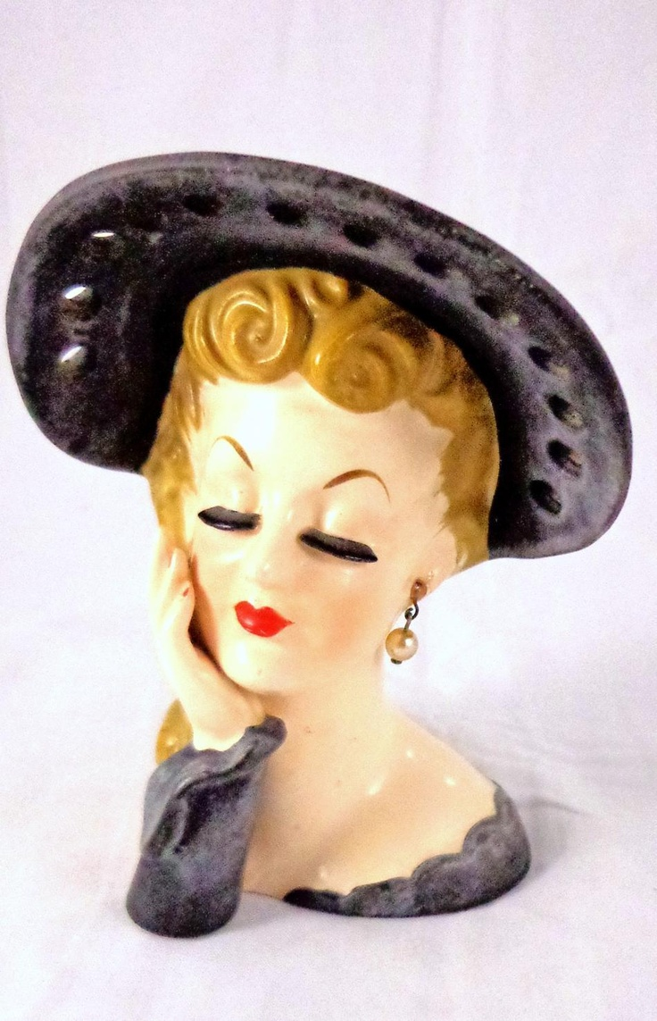 30 best vintage lady head vases images on pinterest china dolls vintage lady head vase black hat pearls napco reviewsmspy