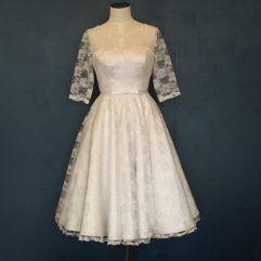 Audrey Lynn Vintage Bridal Natalia Dress | Lace tea length wedding dress with sleeves and matching belt